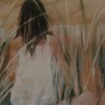 Yasmine à la plage du Vieux-Bourg - Peinture au pastel sec par Isabelle Douzamy - 50x65cm