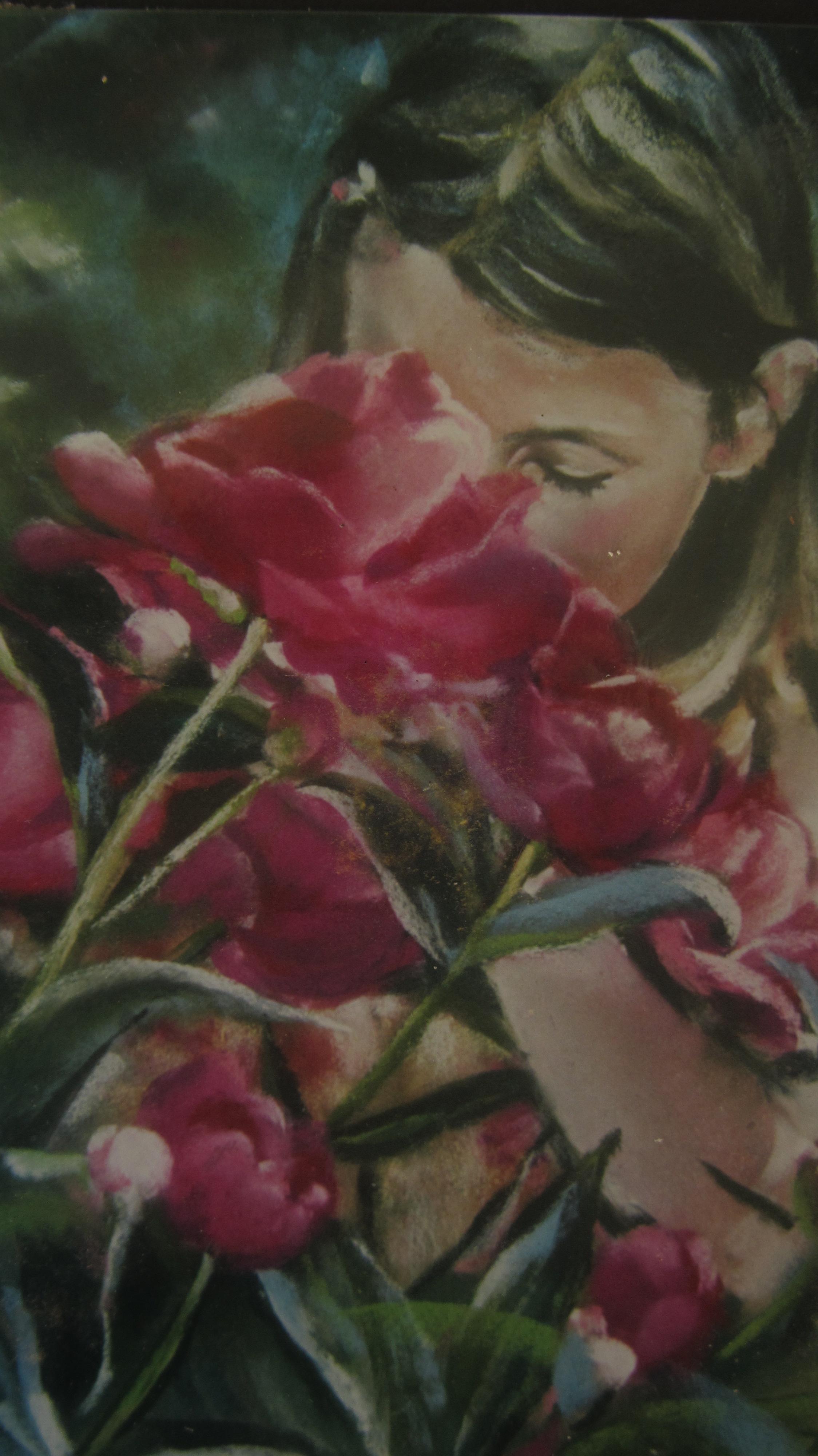 Yasmine aux pivoines - Peinture au pastel sec par Isabelle Douzamy - 30/40 cm