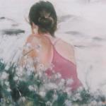 Dos Mallory plage des Mielles Saint-Cast - Peinture au pastel sec par Isabelle Douzamy - 50x65cm - Collection privée
