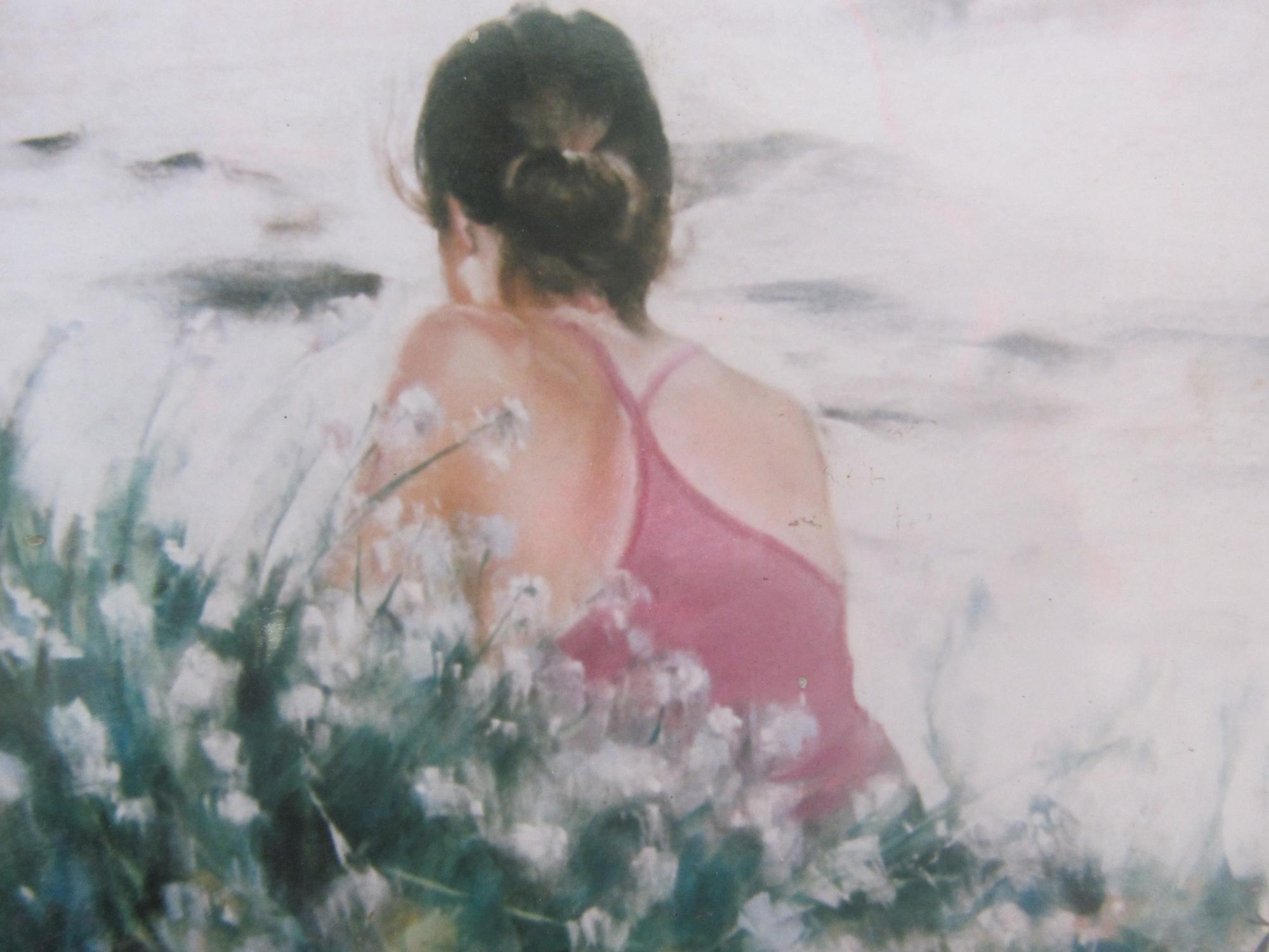 Dos Mallory plage des Mielles Saint-Cast - Peinture au pastel sec par Isabelle Douzamy - 50x65cm