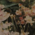 Fleurs et pierres - Peinture au pastel sec par Isabelle Douzamy - 30x40cm