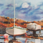 Bateaux à Ploumanach - Peinture au pastel sec par Isabelle Douzamy - 50x65cm