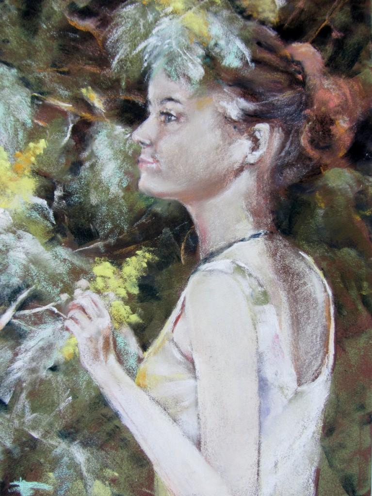Portrait de ma fille Mallory - Pastel sec par Isabelle Douzamy - 30x40 cm - Collection privée