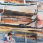 Mallory à la pêche - Peinture au pastel sec par Isabelle Douzamy - 50x65cm