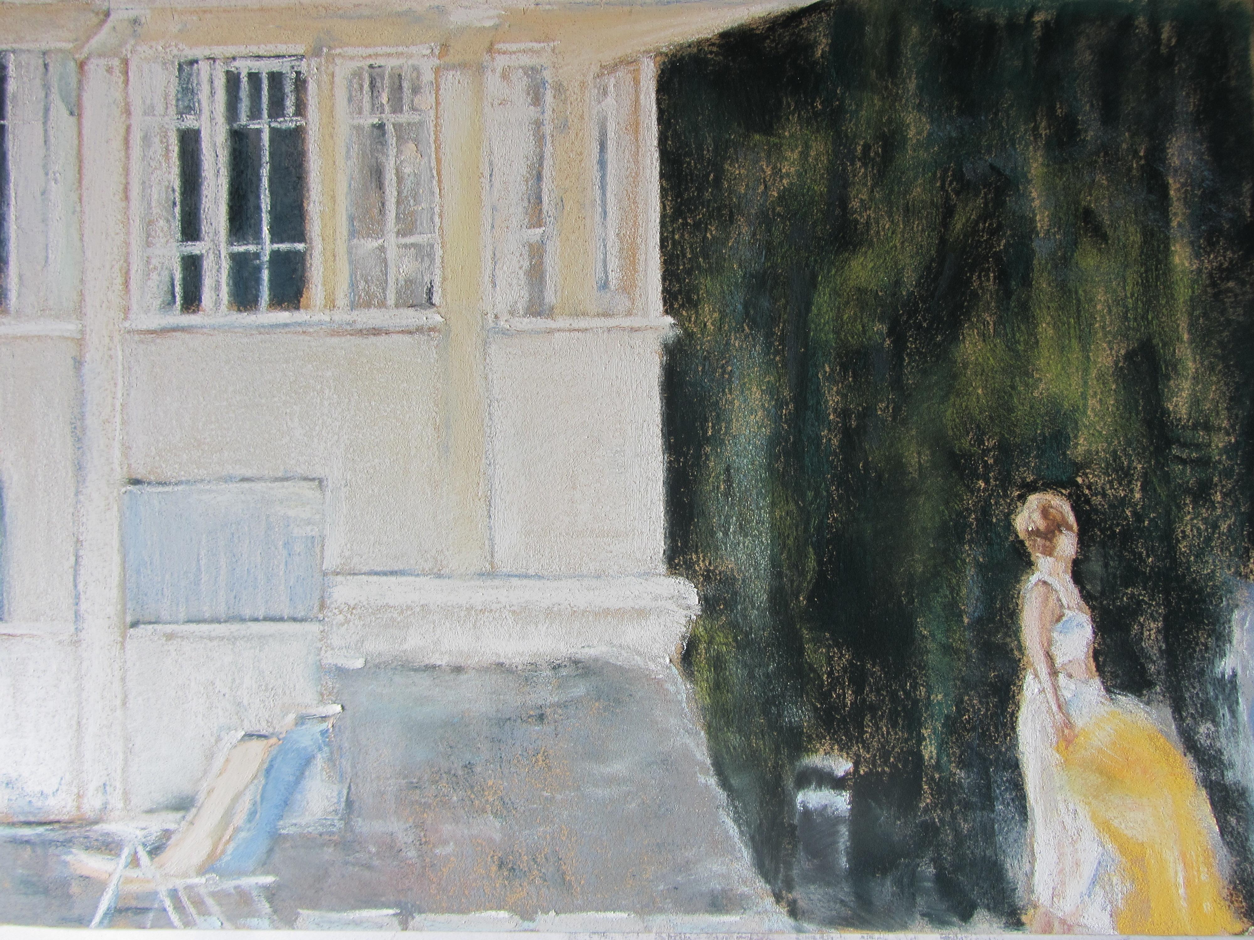 Personnage à Saint-Cast - Pastel sec par Isabelle Douzamy - 30x40 cm