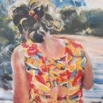 Personnage à La Garde Saint-Cast - Peinture au pastel sec par Isabelle Douzamy - 50x65cm - Collection privée