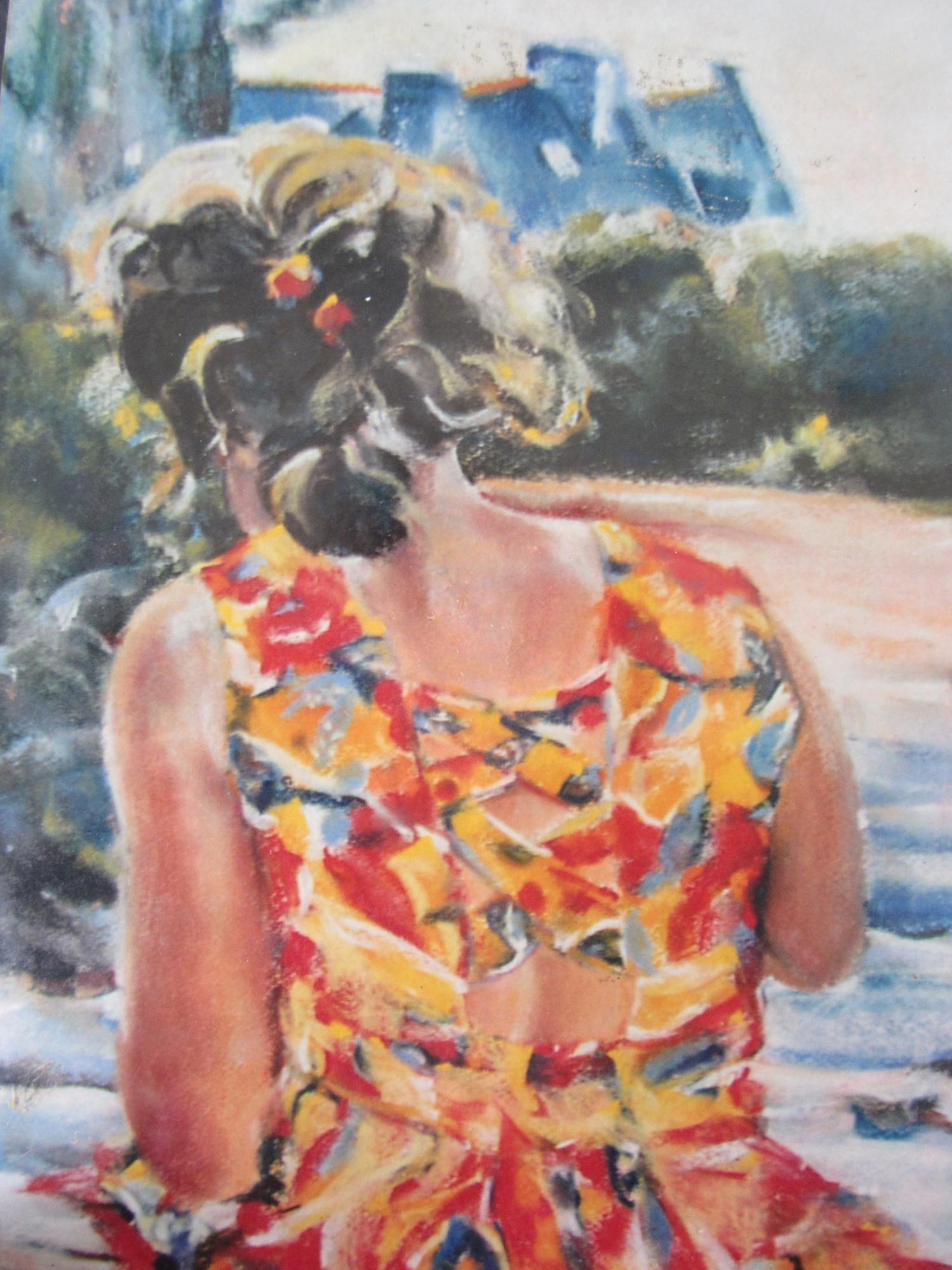 Personnage à La Garde Saint-Cast - Peinture au pastel sec par Isabelle Douzamy - 50x65cm