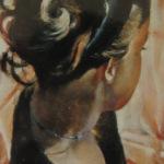 Profil portrait Mallory à la fenêtre - Peinture au pastel sec par Isabelle Douzamy - 50x65 cm - Collection privée