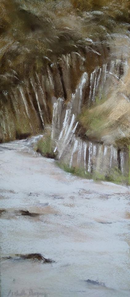 Ambiance Dune à Saint-Cast - Peinture au pastel sec par l'artiste peintre Isabelle Douzamy - 17.5x41.5 cm