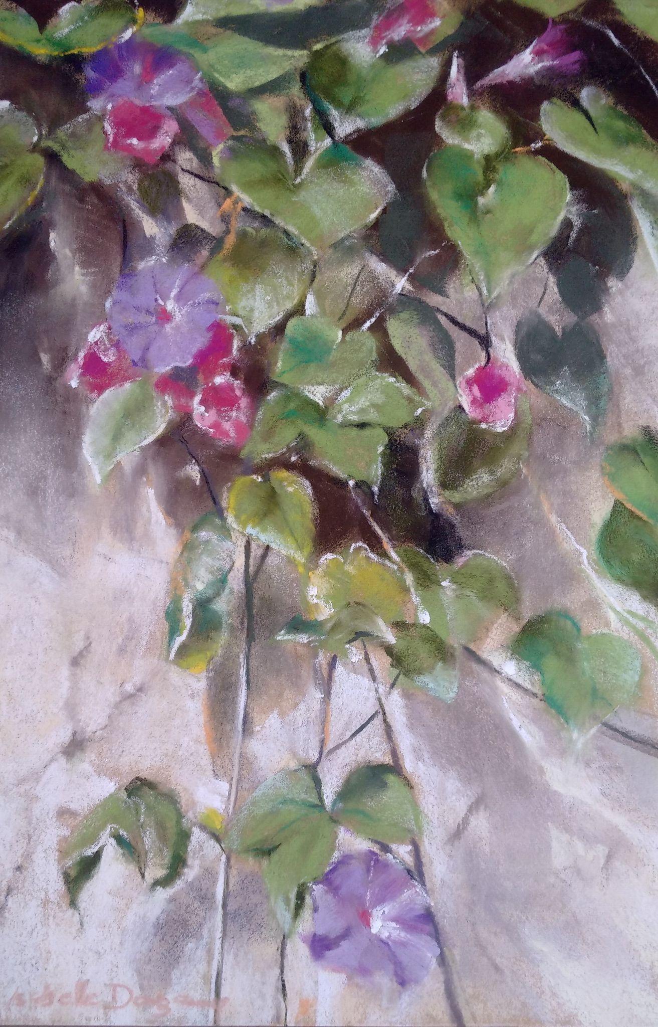 Ambiance Florale - Peinture au pastel sec par l'artiste peintre Isabelle Douzamy - 49,5x34,5 cm (encadré)