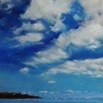 Ambiance bleutée à la plage de Pen Guen à Saint-Cast-Le-Guildo - Peinture au pastel sec par l'artiste peintre Isabelle Douzamy - 40x50 cm (encadré)