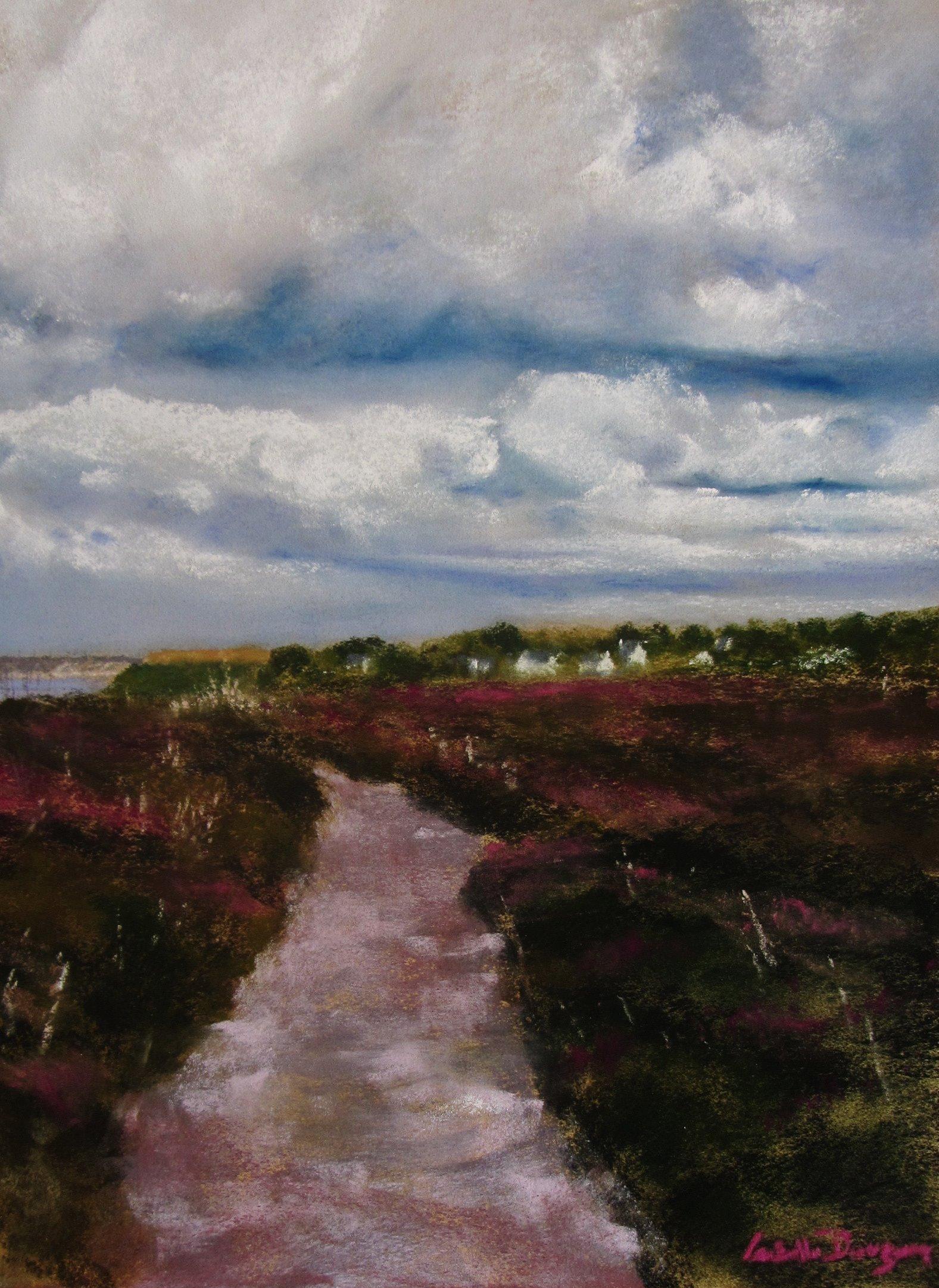 Ambiance dans les landes du Cap d Erquy - Le GR34 - Peinture au pastel sec par l'artiste peintre Isabelle Douzamy 40x50 cm (encadré)