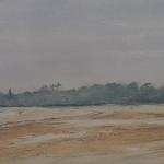 Ambiance de brume à la grande plage de Saint-Cast - Peinture au pastel sec par l'artiste peintre Isabelle Douzamy - 95x35 cm (encadré)