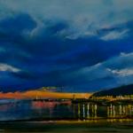 Ambiance du soir Port d'Erquy - Peinture au pastel sec par l'artiste peintre Isabelle Douzamy - 40x50 cm - encadré