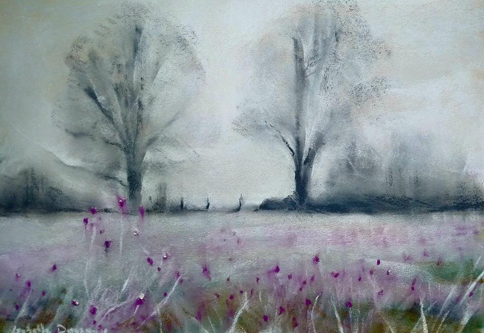 Ambiance hivernale - Peinture au pastel sec par l'artiste peintre Isabelle Douzamy - 40x50 cm (encadré)