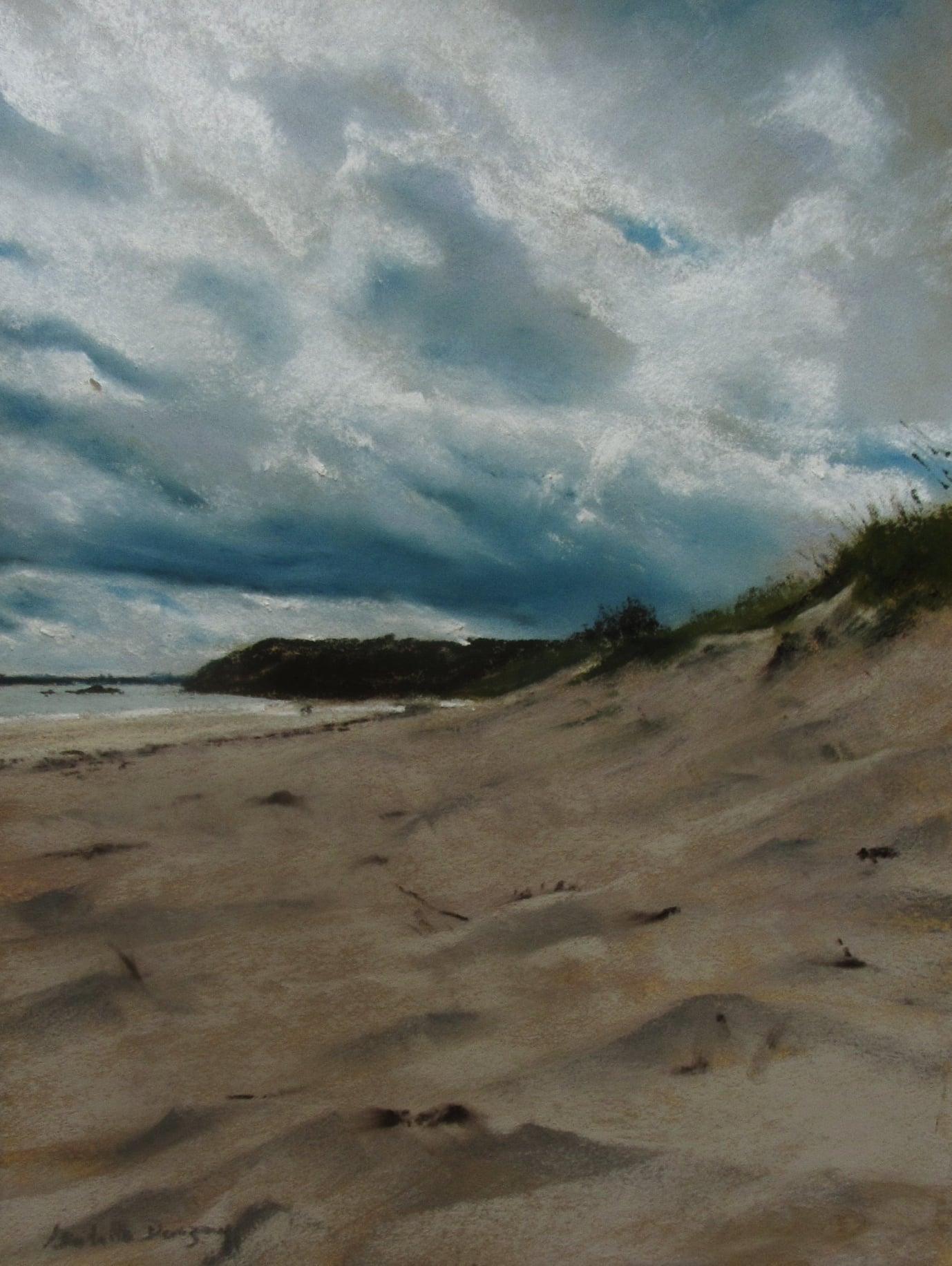 Atmosphère à la plage de Pen Guen à Saint-Cast-Le-Guildo - Peinture au pastel sec par l'artiste peintre Isabelle Douzamy - 40x50 cm (encadré)