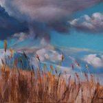 Atmosphère bretonne dans le champ de blé - Peinture au pastel sec par l'artiste peintre Isabelle Douzamy - 39x54.5 cm (encadré)