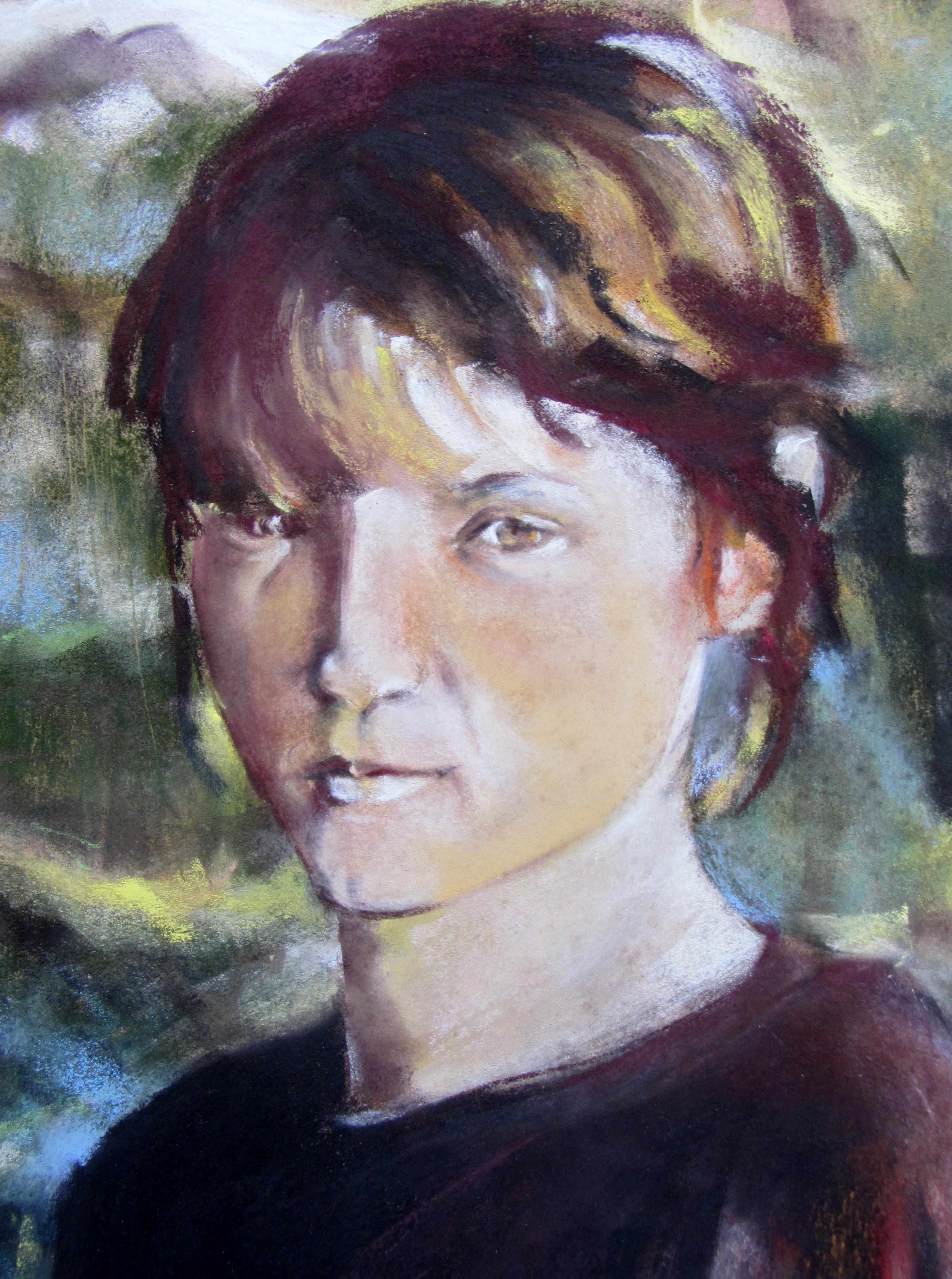 Autoportrait gros plan - Pastel sec par Isabelle Douzamy