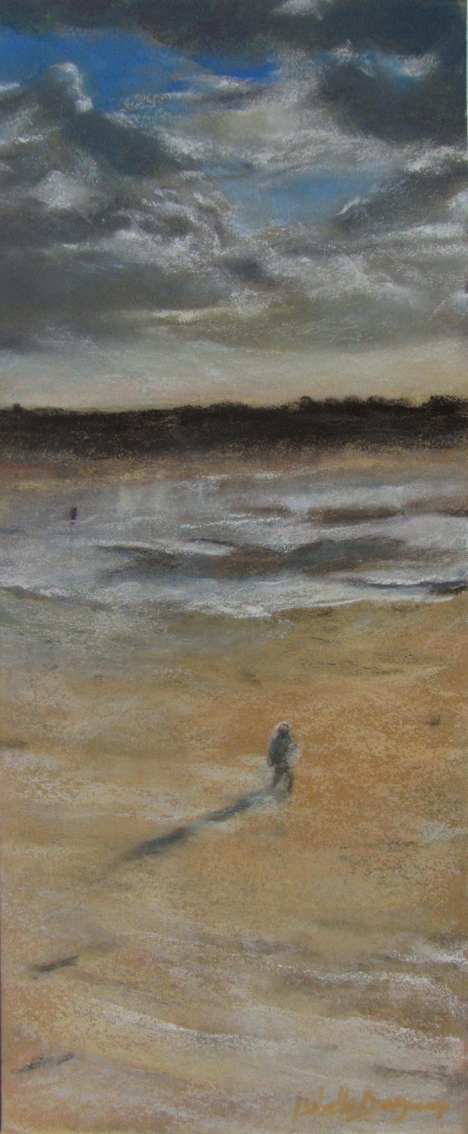 Balade à Pléneuf Val André - Peinture au pastel sec par Isabelle Douzamy - 17x42cm