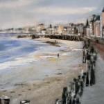 Balade sur le sillon à Saint-Malo - Pastel sec par Isabelle Douzamy - 30x40 cm - Collection privée