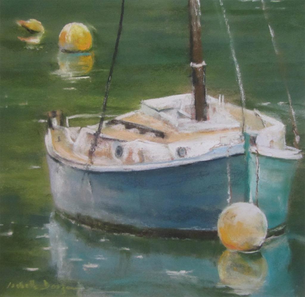 Bateau sur la Rance - La Richardais - Peinture au pastel sec par l'artiste peintre Isabelle Douzamy - 29x29cm - 50x50cm encadré - 400€