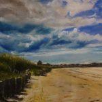 Belle ambiance à la grande plage de Saint-Cast-Le-Guildo - Peinture au pastel sec par l'artiste peintre Isabelle Douzamy - 50 x70 cm ( encadré)