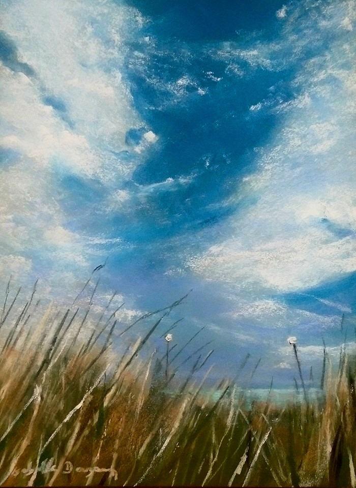 Cachée dans la dune à Saint-Cast - Peinture au pastel sec par l'artiste peintre Isabelle Douzamy - 40x50 cm (encadré)