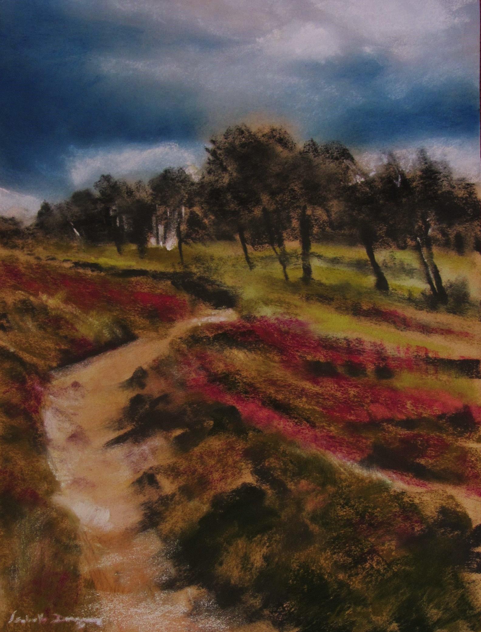 Cap d'Erquy - Les landes - Le GR34 - Peinture au pastel sec par l'artiste peintre Isabelle Douzamy - 40x50 cm (encadré)