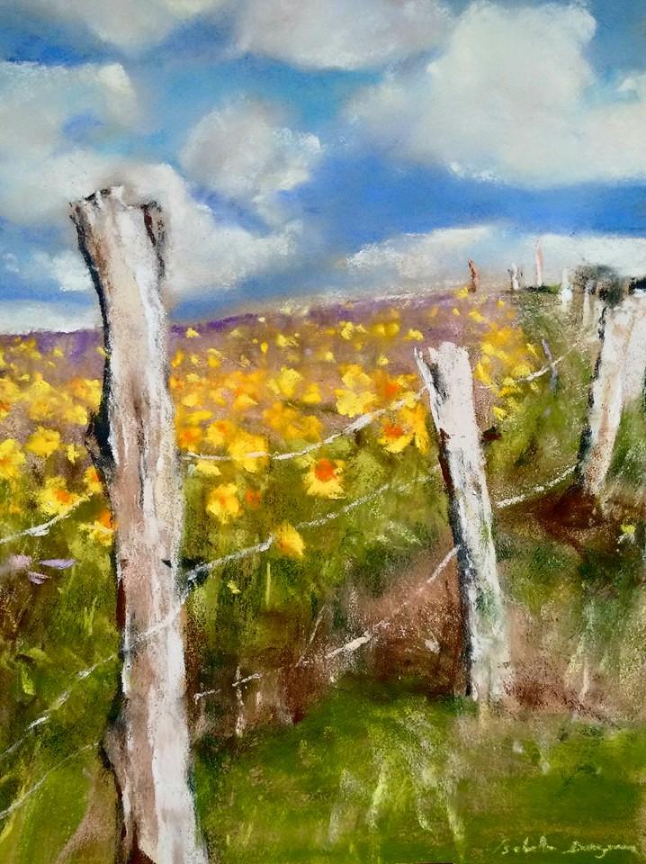 Champ de tournesols - Peinture au pastel sec par l'artiste peintre Isabelle Douzamy - 40x50 cm