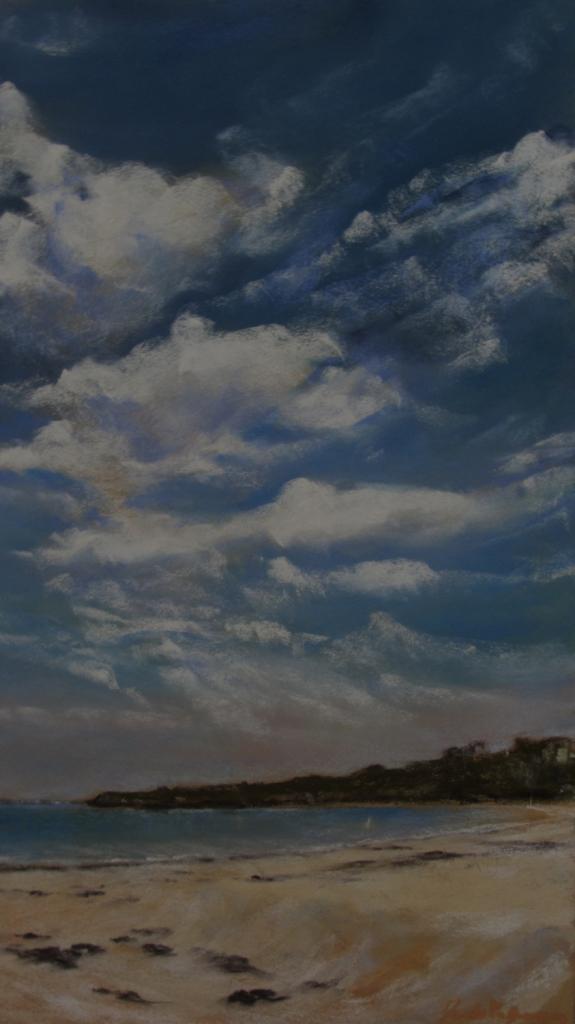 Ciel de Saint-Cast - Peinture au pastel sec par Isabelle Douzamy - 39x60cm / 50x70cm - 600€