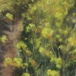 Colza et ornière - Peinture au pastel sec par Isabelle Douzamy - 40x50cm