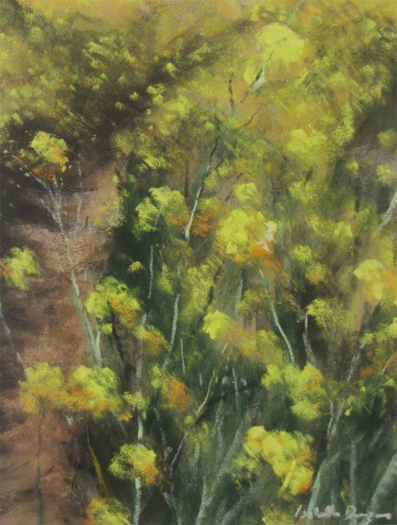 Colza et ornière - Peinture au pastel sec par Isabelle Douzamy - 40x50cm - 400€