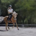 Complicité équestre - Peinture au pastel sec par l'artiste peintre Isabelle Douzamy - Commande 40x50 cm (encadré)