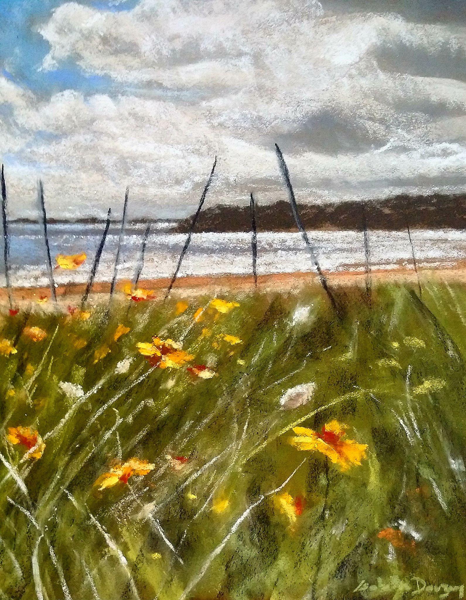 Cordon dunaire Saint-Cast - Peinture au pastel sec par l'artiste peintre Isabelle Douzamy - 45x41 cm (encadré)