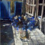 Dans le jardin – Peinture au pastel sec par l'artiste peintre Isabelle Douzamy – 40×50 cm (encadré)