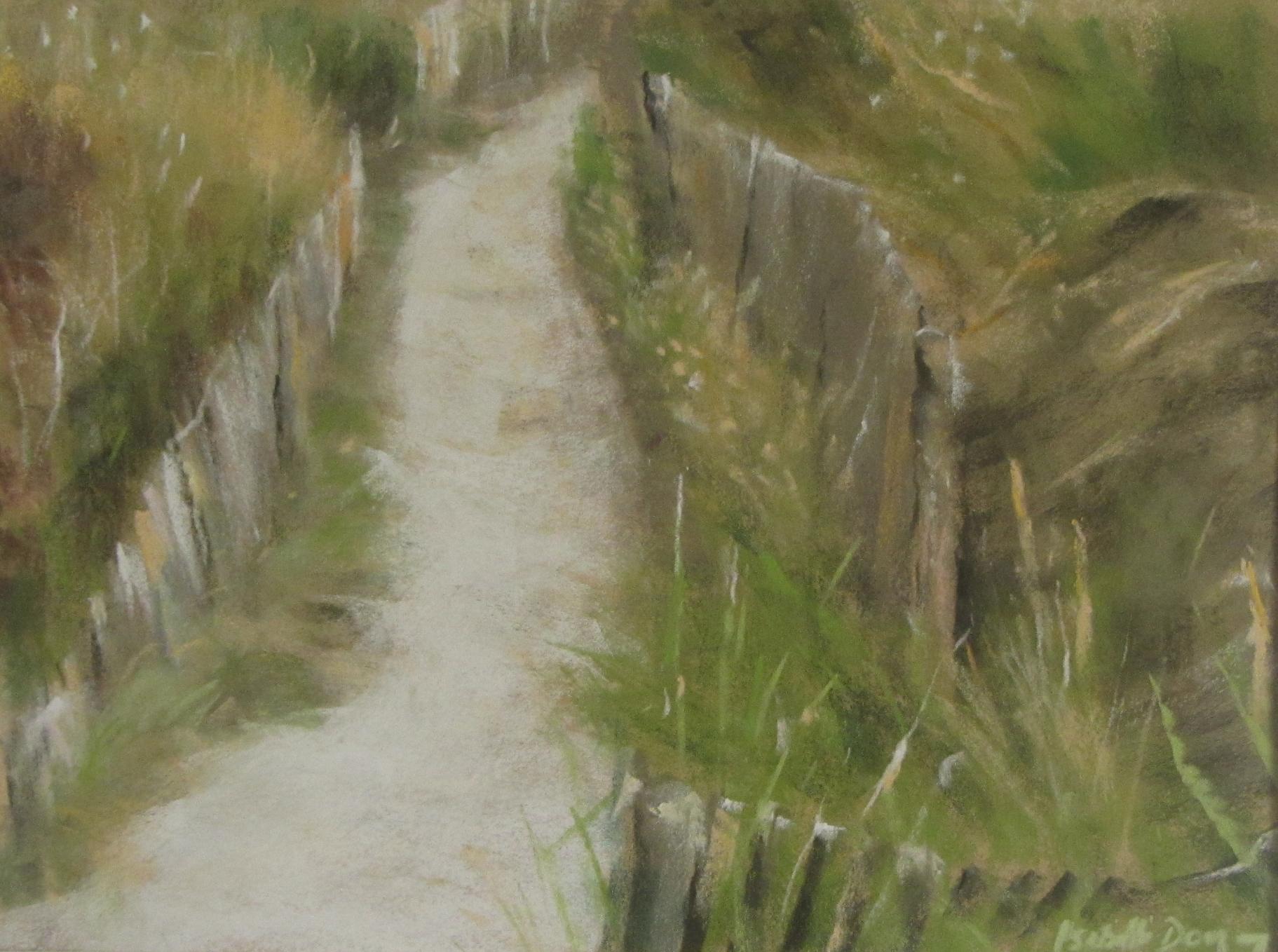 Descente à la plage - Peinture au pastel sec par Isabelle Douzamy - 40x50cm