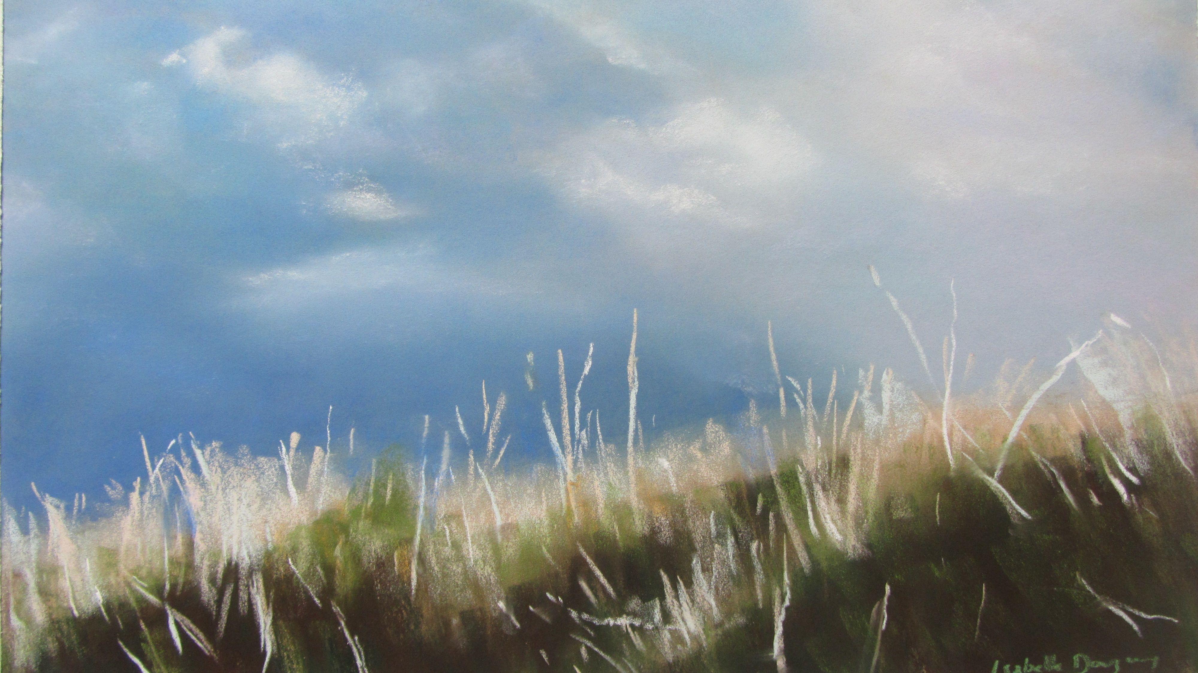 Dune plage des Mielles St Cast - Pastel sec par Isabelle Douzamy - 40x60cm