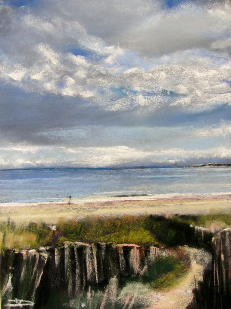 Dunes Saint-Cast Le Guildo - Pastel sec par Isabelle Douzamy - 30x40 cm - Collection privée