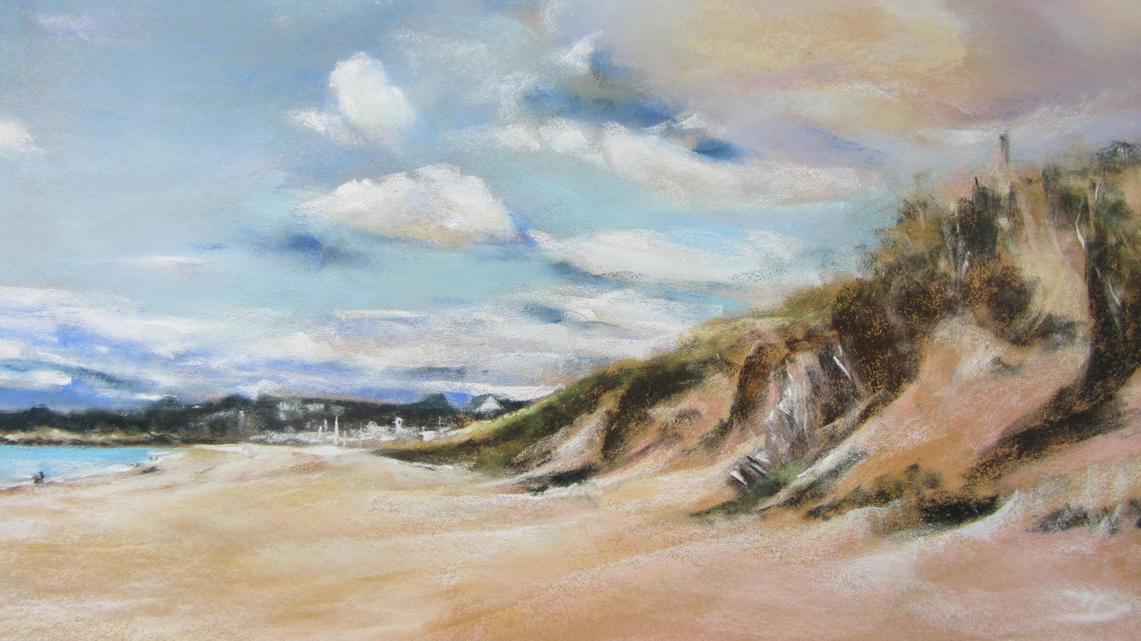 Dunes de la plage des Mielles - Pastel sec par Isabelle Douzamy - 39x59 cm