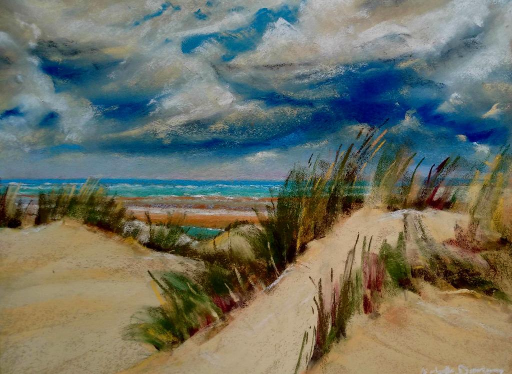 Dunes - Le Touquet-Paris-Plage - Peinture au pastel sec par l'artiste peintre Isabelle Douzamy - 40x50 cm (encadré)