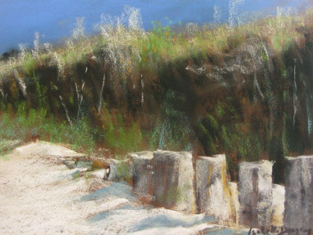 Dunes de la plage des Mielles à Saint-Cast - Peinture au pastel sec par Isabelle Douzamy - 30x40 cm - 500€