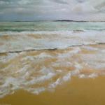 Ecume de mer à la grande plage de Saint-Cast - Peinture au pastel sec par Isabelle Douzamy - 62.5 x 52.5 cm (encadré)