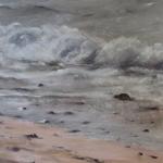 Écume sur le Sillon - Peinture au pastel sec par Isabelle Douzamy - 40x50cm - 400€