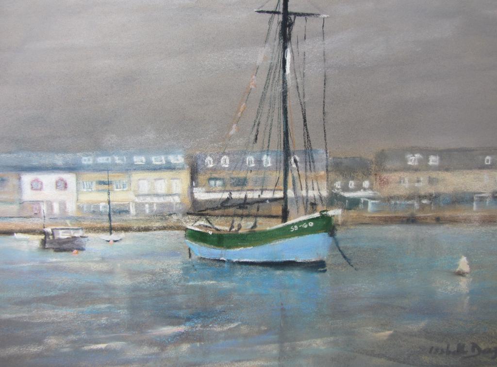 Erquy le port - Peinture au pastel sec par Isabelle Douzamy - 59x39 cm - Collection privée