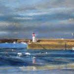 Erquy le port les phares et la Sainte-Jeanne - Pastel sec par Isabelle Douzamy - 40x60 cm - 700€