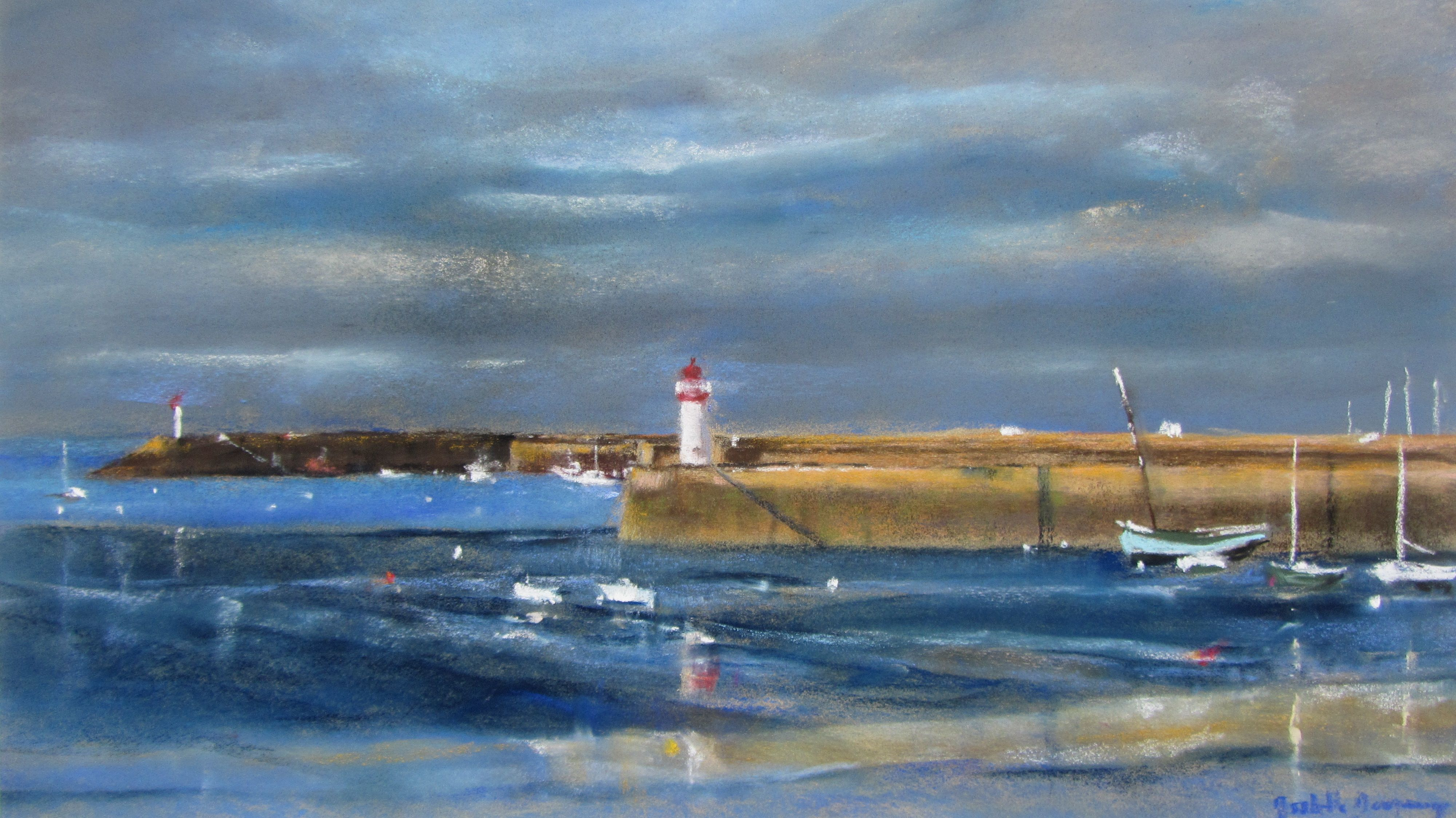 Erquy le port les phares et la Sainte-Jeanne - Pastel sec par Isabelle Douzamy - 40x60 cm