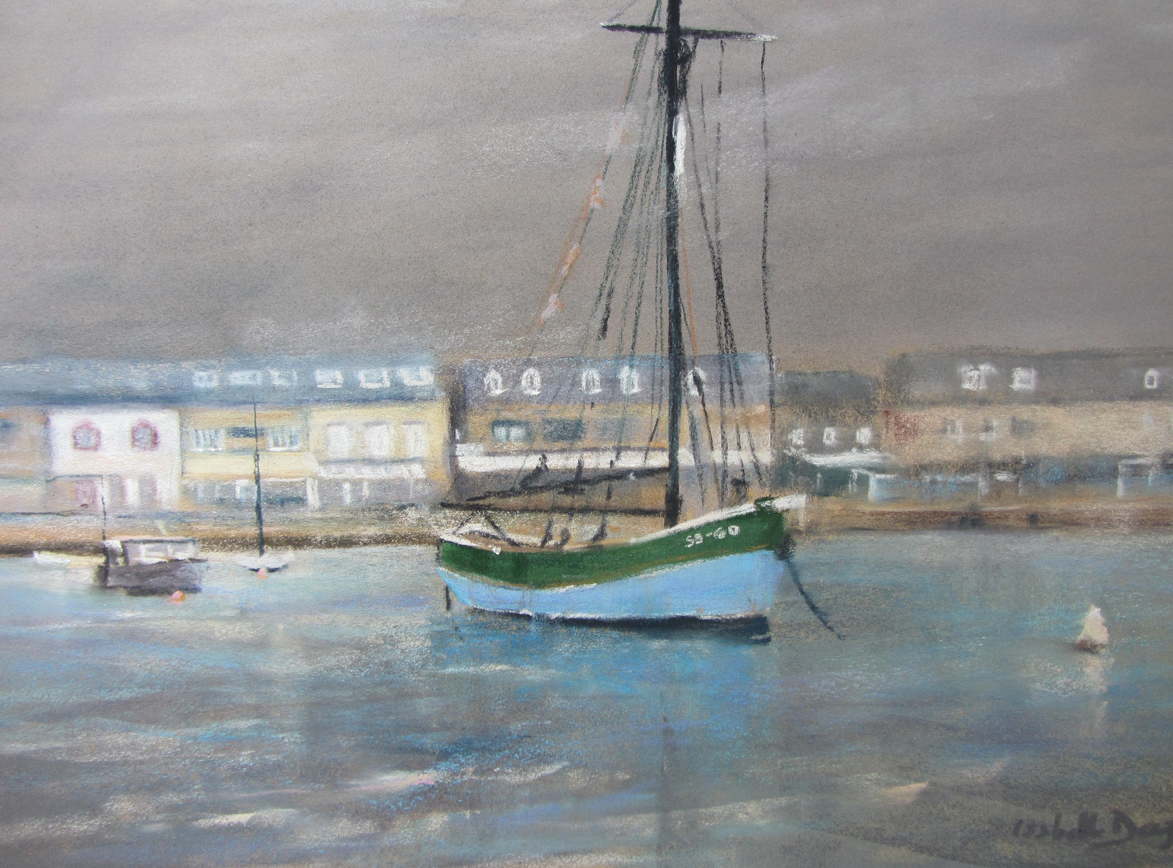 Erquy le port - Peinture au pastel sec par Isabelle Douzamy - 59x39 cm