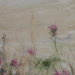 Fleurs de dune - Peinture au pastel sec par l'artiste peintre Isabelle Douzamy - 30x57cm encadré - 300€