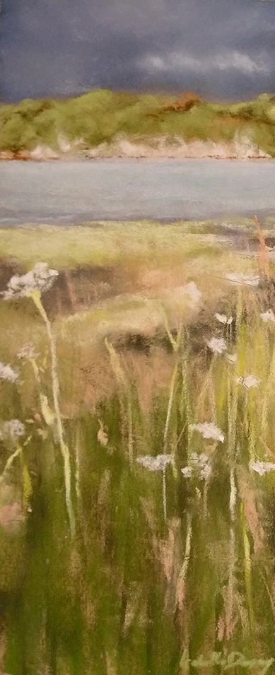 Fleurs sauvages - Peinture au pastel sec par l'artiste peintre Isabelle Douzamy - 17.5x42 et 30x57cm encadré