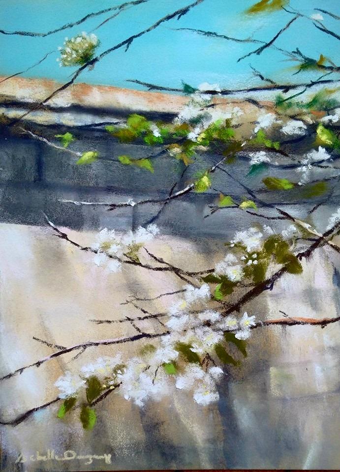 Floraison printanière - Peinture au pastel sec par l'artiste peintre Isabelle Douzamy - 40x50 cm (encadré)